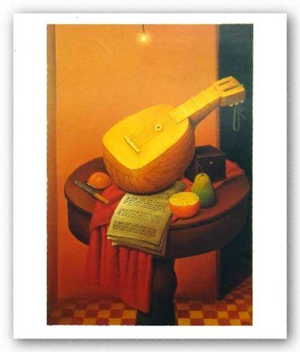 "Still Life With Mandolin by Fernando Botero 21.25""x14.5"" Art Print Poster"
