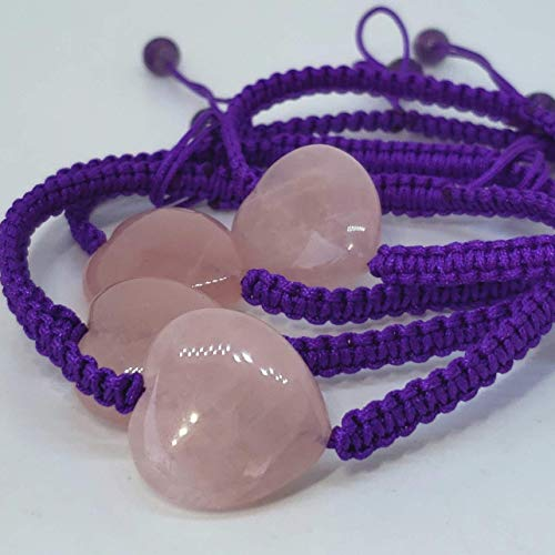 Rose Quartz and Amethyst Bracelet. Hand Woven Drawstring Bracelet. Adjustable Macrame Bracelet. Unconditional Love and Friendship Bracelet. Harmony, Calm and Balance Bracelet. Heart Bracelet.