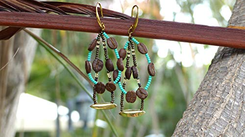 Handmade Coffee Bean Necklace, Bracelet, and Earrings