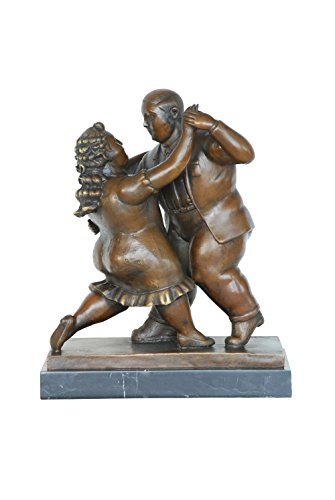 Toperkin Marble Based Fernando Botero Style Dancing Couple Sculpture TPE-654