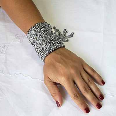 Silver Hand Woven Drawstring Bracelet by D'Mundo Accesorios. 240 Crystals Amazing Bracelet. Mother's Day Gift. Adjustable Macrame Bracelet.