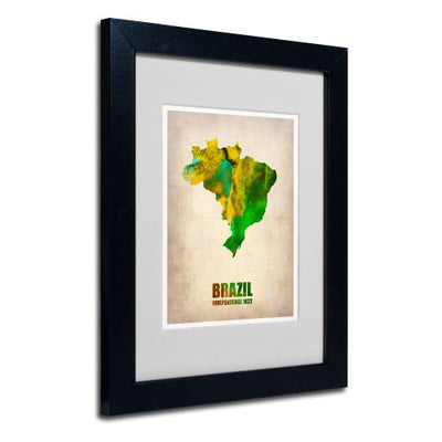Brazil Watercolor Map by Naxart Matted Framed Art, 11 by 14-Inch, Black Frame