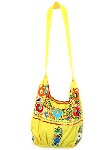 Leos Imports (TM) Hand Embroidered Puebla Mexican Tote Bag (Yellow Multi)