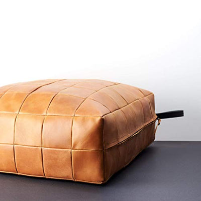 Capra Leather Light Brown Floor Cushion Pillow Seating. Ottoman Pouf Window Seat. Square pillow seat personalized size.Yoga and Home Furniture.