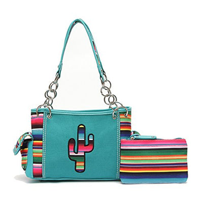 Western Handbag - Multi-Colored Serape Fabric Textured Stitched Cactus Concealed Carry Shoulderbag with a Small Matching Sarape Cosmetic Purse