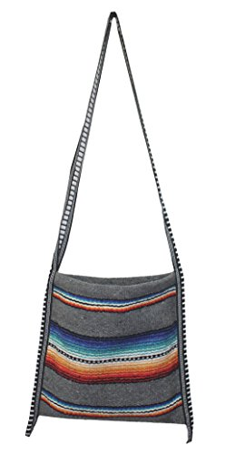 Mexican Style Falsa Blanket Tote Bag Messenger (Grey)