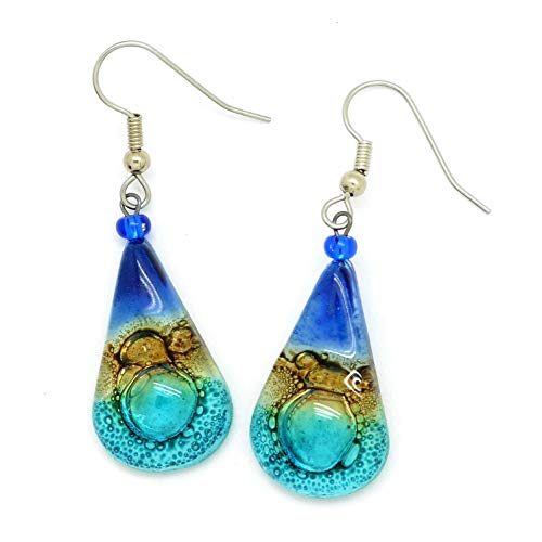 Cobalt Blue Aqua Fused Glass Teardrop Earrings