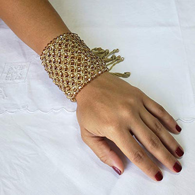 Golden Hand Woven Drawstring Bracelet by D'Mundo Accesorios. 240 Crystals Amazing Bracelet. Mother's Day Gift. Adjustable Macrame Bracelet.