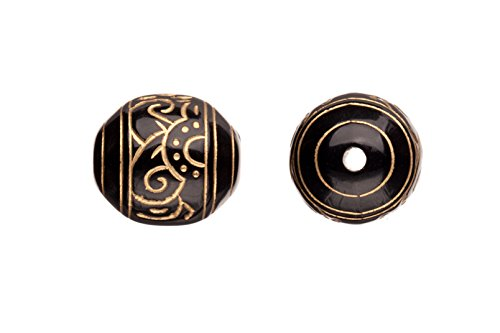 Acrylic beads, black with gold paint, oval with Mayan pattern, 16x14mm sold per pack of 51pcs/100g