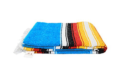 Blue Diamond Navajo Mexican Yoga Blanket, Thick Serape with Red and Yellow Sunset Stripes -- Handmade