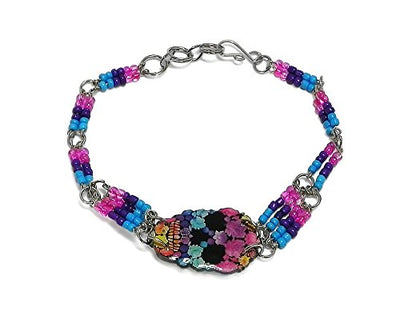 Beaded Skull Bracelet (Floral/L.Blue/Purple/H.Pink)