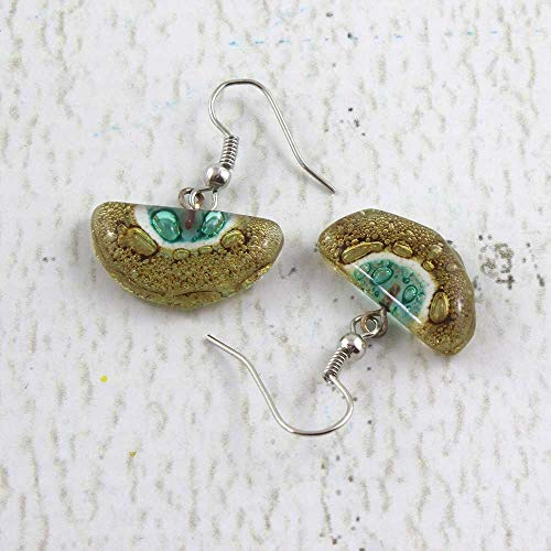 Fused Glass Half-Moon Earrings