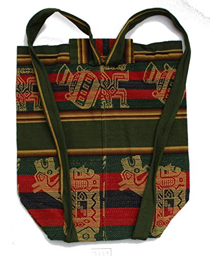 Dark Green Backpack Ethnic Andean Handmade Aguayo Ecuador Bolivian Peruvian fabric Backpack Bag