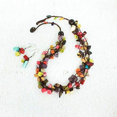 Artisan Beaded Necklace Set made of Chunky Tagua
