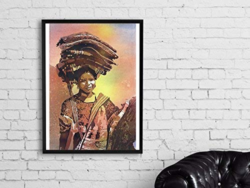 Watercolor painting of traditionally dressed woman in Antigua, Guatemala (print)