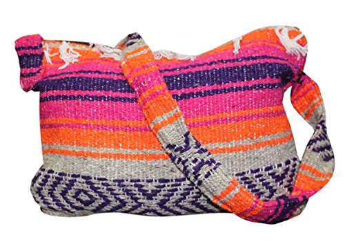 Del Mex Mexican Falsa Blanket Purse Messenger Tote Bag with Fringe (Pink/Orange)