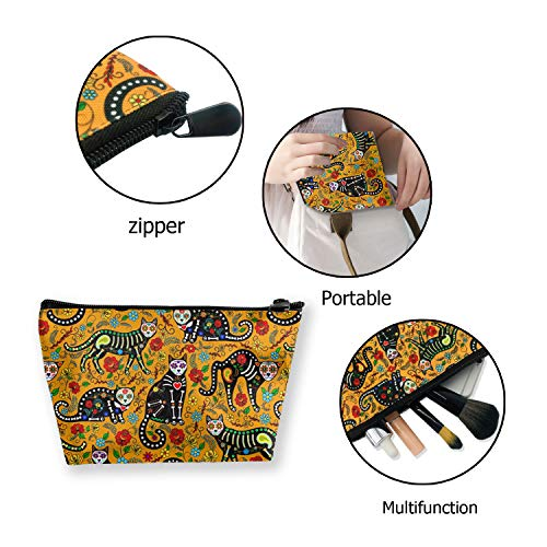 Women Cosmetic Bags, Halloween Printing Purse Makeup Storage Pouch Toiletries Organizer Case For Travel (Cute Sugar Skull And Black Cats)