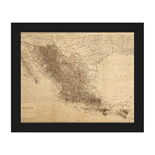 Vintage Mexico Map: Distressed Mexican Map with Elevations and Railways on Parchment-pattern Wall Art Print on Canvas with Black Frame