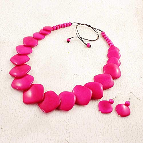 Vibrant Pink Statement Necklace and Earring Set made of Tagua Nut
