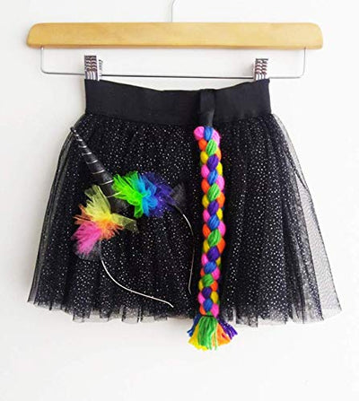 Black and Rainbow Unicorn Costume - Size 4-6