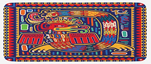 "Lunarable Mexican Kitchen Mat, Culture Pattern Colorful Artwork Abstract Snake in Vivid Folk Style, Plush Decorative Kitchen Mat with Non Slip Backing, 47"" X 19"", Mustard Orange"