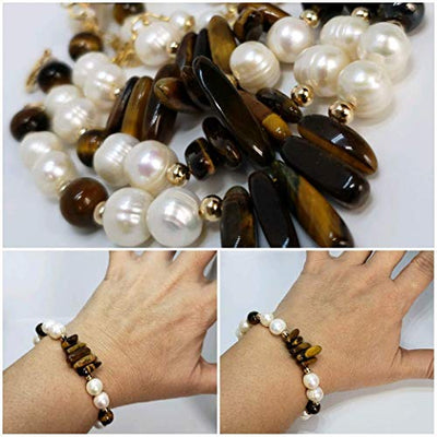 Tiger Eye and Freshwater Pearls Bracelet. Handmade genuine gemstone adjustable bracelet by D'Mundo Accessorios. Brown and White Bracelet. Protection Woman Bracelet.