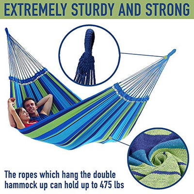 Brazilian Double Hammock Extra Long and Wide with Tree Straps Rope 475 lbs, Soft Woven Cotton 2 Person Hammock for Indoor Outdoor Travel Beach Backyard Porch with Carrying Pouch, Blue Green Stripes
