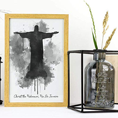 Christ the Redeemer - Rio de Janeiro Brazil Watercolor Wall Print - 11 x 14 Unframed Print - Designed for World Travelers - Travel Agent Office Wall Decor - Religious Landmark