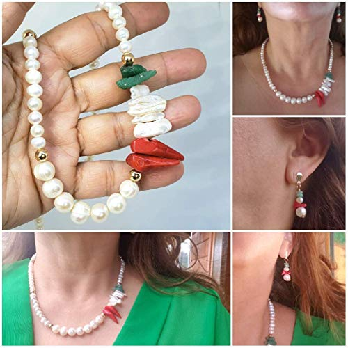 Natural Freshwater Pearls, Coral and Raw Emeralds Set. Necklace and Earrings. Natural Stones Choker. Genuine Freshwater Pearls, Raw Emeralds and Red Pepper Coral Choker. Limited Edition.