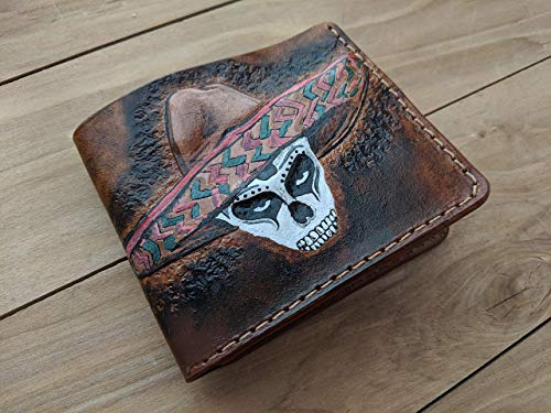Men's 3D Genuine Leather Wallet, Hand-Carved, Hand-Painted, Leather Carving, Custom wallet, Personalized wallet, Mexican Skull, Sombrero, Maracas