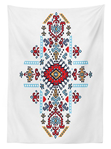 "Ambesonne Geometric Outdoor Tablecloth, Mexican and Ornamental Folkloric Unique Vintage Pattern, Decorative Washable Picnic Table Cloth, 58"" X 120"", Ruby Blue"