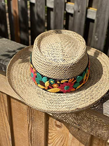 Panama Style Hat with Embroidered Flowers on Brown Band