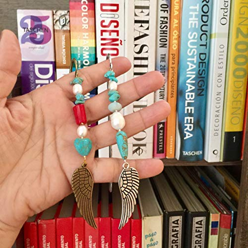 Bookmark Set with Wing Symbol, Turquoise, Coral and Pearls. Love, Prosperity, and Happiness! Vintage Bookmark Set by D'Mundo Accesorios