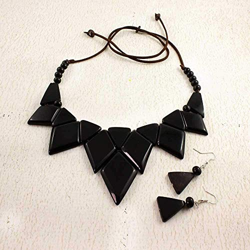 Geometric Statement Tagua Nut Necklace and Earring Set