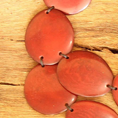 Red Statement Bib Necklace with Chunky Tagua Nut