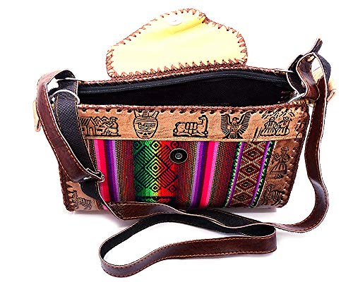 Peruvian Vintage Brown Vegan Leather Flap Tribal Print Striped Pattern Purse Fashion Bag Adjustable Strap (Multicolored)