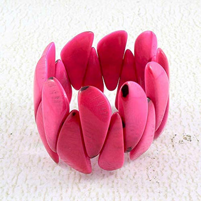 Bright Pink Stretchy Tagua Nut Bracelet