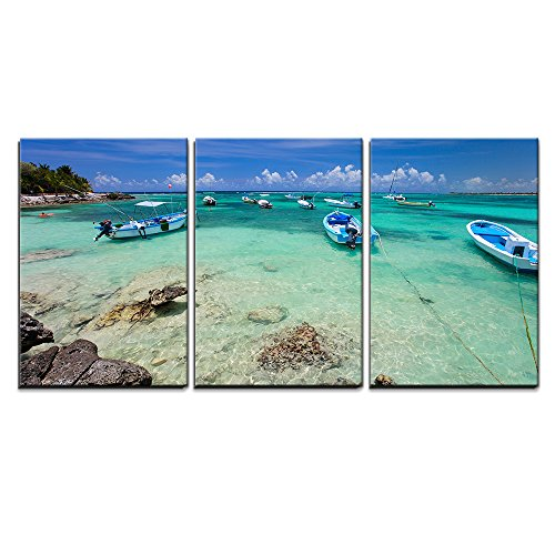 "wall26 - 3 Piece Canvas Wall Art - Tropical Coast near Akumal in Mexico - Modern Home Decor Stretched and Framed Ready to Hang - 24""x36""x3 Panels"