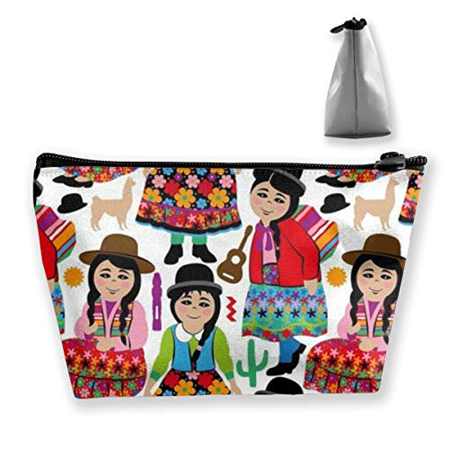 Bolivian Girls Makeup Bag for Purse Travel Makeup Pouch Mini Cosmetic Bag for Women Girls