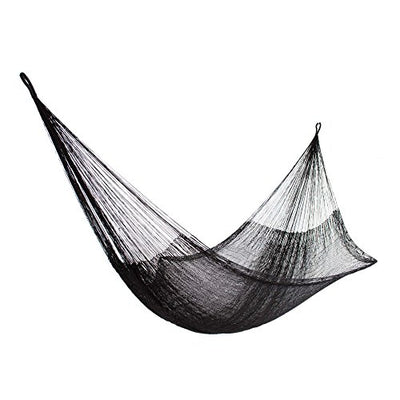 NOVICA Black Nylon Hand Woven Mayan Hammock, 'Black Relaxation' (single)