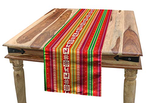 "Lunarable Tribal Table Runner, South American Colorful Pattern with Birds Bolivian Traditional Borders, Dining Room Kitchen Rectangular Runner, 16"" X 72"", Red Yellow"
