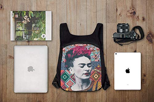 Akitai Frida Kahlo Backpack - Black Canvas Women Purse - Womens Fashion Art Print Gypsy Bohemian Bag