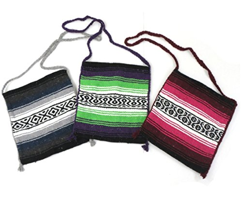 "3 Pack Recycled Mexican Tote Purse Bag Falsa 13"" X 16"" Assorted"