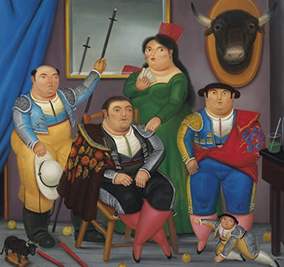 Fernando Botero - Family Scene , Size 12x14 inch, Gallery wrapped canvas art print wall décor