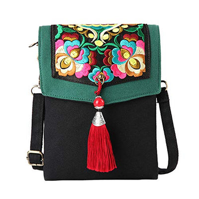 Embroidered Tassels Canvas Crossbody Bag, Cellphone Pouch Purse
