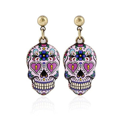 Sugar Skull Dangle Earrings Pink Gold Tone