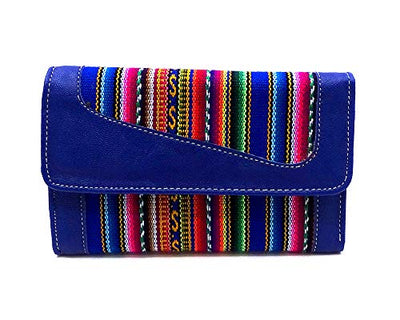 Multicolored Tribal Print Pattern Striped Material Leather Trifold Wallet with Snap Closure Interior ID Window and Credit Card Slots (Blue)