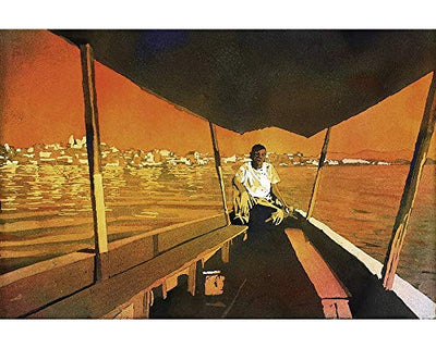 Watercolor painting of boatman on Lago San Andres Flores Guatemala (print)