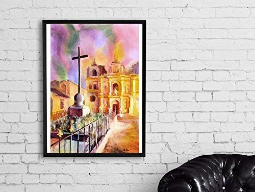 Watercolor painting of La Merced Baroque church Antigua, Guatemala (print)