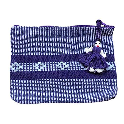 Handmade Mexican Zippered Pouch - Blue
